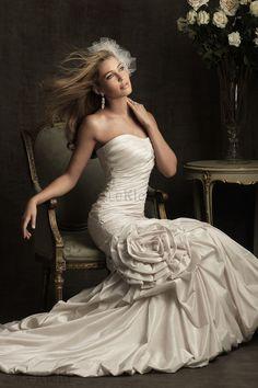 Gerichtsgebäude Retro Herz-Ausschnitt Perlenbesetzt Meerjungfrau Brautkleid