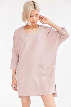 Silence + Noise Kaden Woven Pink Cocoon Mini Dress