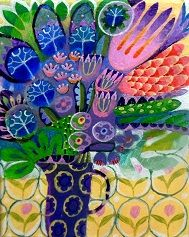 I love to paint flowers and I love to paint patterns … so my pictures contain flowers and patterns!