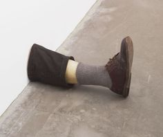 "Untitled Leg  Robert Gober (American, born 1954)  1989-90. Beeswax, cotton, wood, leather, and human hair, 11 3/8 x 7 3/4 x 20"" (28.9 x 19.7 x 50.8 cm). Gift of the Dannheisser Foundation. © 2012 Robert Gober"