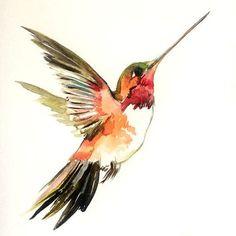 Hummingbird painting, original watercolor painting, flying hummingbird, 12 X 9 in