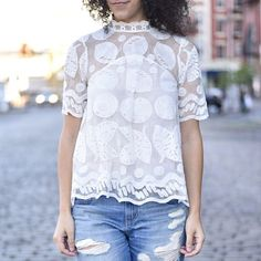 Lily Lace Blouse #Anthropologie #MyAnthroPhoto