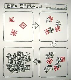 Enthusiastic Artist: BOX SPIRALS tangle instructions by Margaret Bremmer, Certified Zentangle Teacher