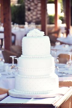 3 tiered wedding cake, with each tier a different flavour, created by the very talented pastry chefs of the Aldemar hotels in Crete