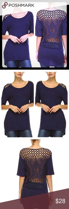 """🎉NEW🎉💙 The """"Madison"""" Navy Blue Top Size 2X 🎉JUSTIN 💙 Gorgeous- The """"Madison"""" Navy Blue Top with gorgeous Crochet back.💙 Eye-catching lace and netting bring head-turning appeal to this tunic featuring a relaxed fit and curve-loving fabric that delivers cool comfort all day.💙 Fits like a 1X (I have this top & ❤️ it) Size 1X: 31'' long from high point of shoulder to hem💙 Knit; fabric has stretch💙 95% modal / 5% spandex💙 Boutique Tops Tunics"""