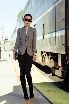 J.Crew Silk boy blouse in heart print, J.Crew schoolboy blazer in gray, J.Crew Pixie pant, Tory Burch Tall Wedge Boots - Hendin, Chanel bow sunglasses, Chanel chain purse, work outfit, fall style