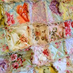 Throw Rag Quilt Lavender Pink Blue Rag Quilt Yellow Green