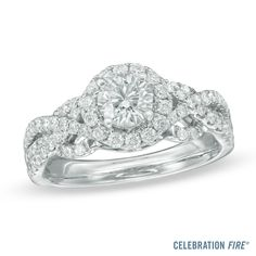 Celebration Fire® 1-1/4 CT. T.W. Diamond Frame Engagement Ring in 14K White Gold
