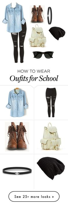 """school"" by ilovescreamqueens13 on Polyvore featuring Topshop, Ray-Ban, Wendy…"