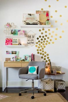 Gold Confetti Dots Wall Art I think it's important one's desk area to look light, bright, and inspiring. These gold dots will add some whimsy to my room and help convince me that I will not be writing term papers forever!