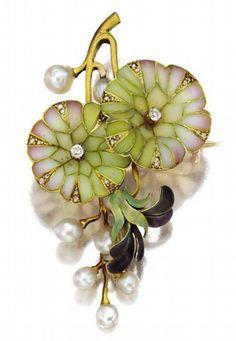 Diamond, pearl, plique-à-jour enamel, enamel and gold brooch, circa 1900.