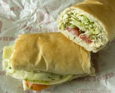 Jimmie John's Vegetarian Sandwich my most fav sandwich Vegetarian Recipes, Vegetarian Sandwiches, Jimmy Johns, Going Vegan, Hot Dog Buns, Veggies, Yummy Food, Lunch, Bread