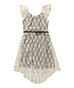 Loving this Ivory Lace Animal Hi-Low Dress - Girls on #zulily! #zulilyfinds