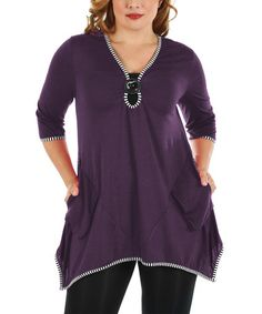 Love this Purple Sidetail Tunic - Plus on #zulily! #zulilyfinds