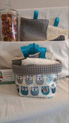 10 Lingettes lavables 11x11 avec panier en coton enduit