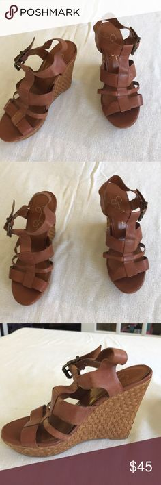 Jessica Simpson wedge size 7 1/2. These Jessica Simpson wedge sandals have average wear on straps. Jessica Simpson Shoes Wedges
