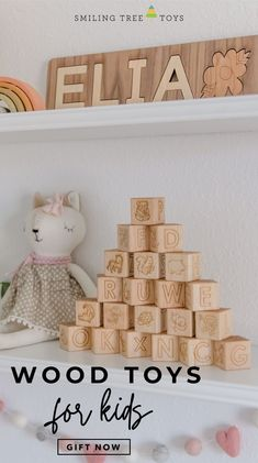 Every child needs a classic wooden alphabet block set, but why not level up your wood block game with this limited edition set? This handmade wood toy features beautifully hand-drawn illustrations engraved on sustainably sourced hardwoods. AND we donate to the Global Fund for Women for every set we sell! #woodtoys #giftideas Wooden Alphabet Blocks, Wooden Letters, Wood Blocks, Wooden Toy Crates, Wood Toys, Wood Block Game, Baby's First Ornament, Bug Toys, Global Fund