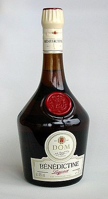 "Bénédictine is an herbal liqueur beverage developed by Alexandre Le Grand in the 19th century and produced in France. Every bottle of Bénédictine has the initials D.O.M. on the label, which stands for ""Deo Optimo Maximo"" (""To God, most good, most great""). This abbreviation is commonly used at the beginning of documents of the Benedictine Order as a short dedication of the work."