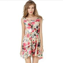 Detonation model European 2015 new In the summer sleeveless printing Chiffon dress Big flowers grow Vest dress