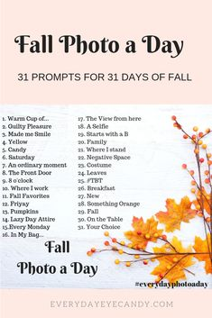 Grab your camera and get ready to document Fall with this Fall Photo a Day Challenge! Autumn Photography, Creative Photography, Inspiring Photography, Portrait Photography, Photography Tutorials, Beauty Photography, Digital Photography, Photography Blogs, Minimalist Photography