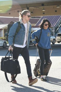 Vanessa Hudgens  & Austin Butler arriving at Burbank Airport. - February 11th
