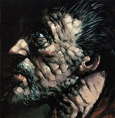 """I love this images use of contrast bold lines and colour as to add emphasis and age into the face. Peter Howson, """"Study for Saint Andrew"""", Oil on Canvas, 102 x 78 inches. Peter Howson, Photography Collage, Painting & Drawing, Oil On Canvas, Saints, Lion Sculpture, Sketches, Statue, Image"""