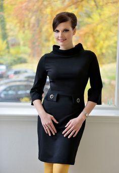 Knielange Kleider - Romanitjerseykleid Audrey schwarz - ein Designerstück von Cordelia-Baethge bei DaWanda