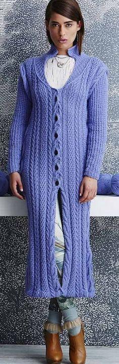 Как связать пальто спицами