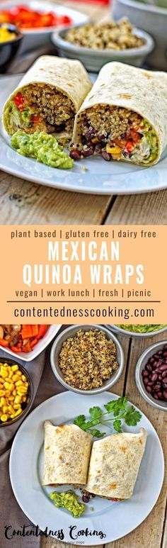 My Mexican Quinoa Wraps are a very easy, fresh to-go food for a picnic or a take-along lunch. Or for any occasion in which you just want to grab something healthy and enjoy good vegan food. You can make these ahead with few fresh ingredients and so much flavor. #vegan #schoollunch #lunch #picnic #glutenfree