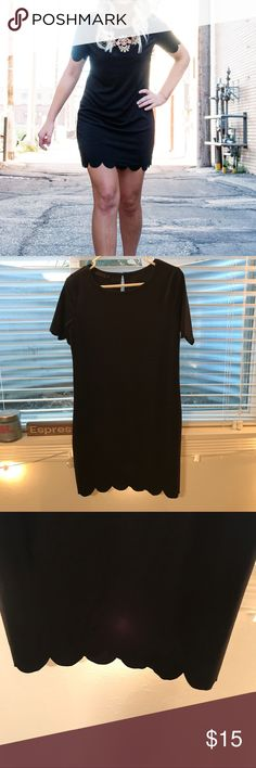 Black scalloped dress Worn once for my senior pictures! Form fitting but flattering! Black scalloped bottom hem and scalloped around the arms. Very comfortable and pretty stretchy Dresses Mini