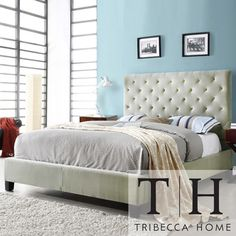 TRIBECCA HOME Sophie Taupe Velvet Tufted King-size Bed | Overstock.com Shopping - Great Deals on Tribecca Home Beds