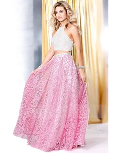 Halter Neck Crossed Straps Back Beaded Bodice A-line Organza Two Piece Prom Dress