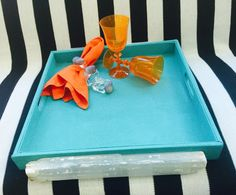 Serving Trays Sheathed in Turquoise Blue Faux by JesseDimondDesign