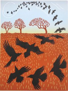 This print was inspired by black crows tumbling over a winter field and Joni Mitchells Black Crow playing on repeat in my head! Title: Ragged Crows Edition: 10 Numbered and signed by the artist. Image size: x x Paper size: h x w x 12 Hand printed on Flock Of Crows, Crow Flying, Recycled Tin Cans, Tree Silhouette, On Repeat, Bird Art, Spirit Animal, Moose Art, Sculptures