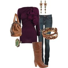 """Purple Ruffle Sweater"" by makaiod on Polyvore"