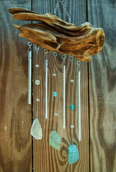 I made a wind chime from recycled chimes and some driftwood + sea glass from the local river Post with 0 votes and 622 views. I made a wind chime from recycled chimes and some driftwood + sea glass from Sea Glass Crafts, Sea Glass Art, Shell Crafts, Stained Glass, Fused Glass, Driftwood Projects, Driftwood Art, Driftwood Mobile, Driftwood Beach
