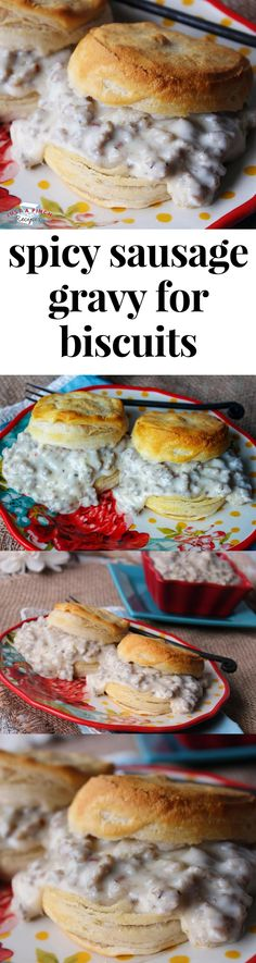 Homemade sausage gravy for biscuits is SO GOOD! The best breakfast recipe ever. Or the best breakfast for dinner recipe.whenever you decide to eat this know this spicy sausage gravy is Homemade Sausage Gravy, Sausage Gravy And Biscuits, Spicy Sausage, Sausage Recipes, Sausage Breakfast, Breakfast For Dinner, Breakfast Time, Breakfast Casserole, Breakfast Ideas