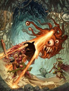 the attack of the Beholder - by frozenlilacs - creature from Dungeons & Dragons game