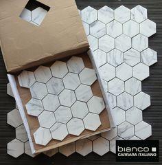 """Carrara Bianco 3"""" Hexagon Marble Mosaic Tile $12 per sq ft"""