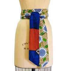 African Fabric Obi Belt Head Wrap Reversible Sash One of by Sholan, $34.00