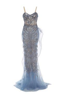 Draped Bodice Column Gown by MARCHESA for Preorder on Moda Operandi