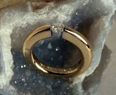 Tension Set Canadian Diamond in Hand Forged 18k by WatertonJewelry, $5450.00