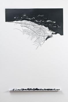 lafilleblanc: Leyla Cárdenas / mapa deshecho, 2011 / corte láser sobre papel onix