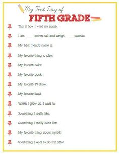 First Day of Fifth Grade Interview - Click image or link below to download - Positively Splendid {Crafts, Sewing, Recipes and Home Decor}