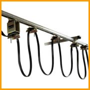 Gleason Festoon Kits and Components - C-Rail Mounted  General Purpose C-Rail kits made easy  • Zinc–plated steel with yellow dichromate dip finish • Wheels smooth–running ball bearing • Axles Zinc–plated steel • C–Rail Track Roll–formed galvanized steel • Hardware Zinc–plated steel • Active Travel Up to 72 feet (21.6M) • Trolley loads Up to 45 lbs/trolley (20.25kg) • Speed Up to 250 fpm (75M/m)  https://nasco-corp.com/products/festoon-systems/