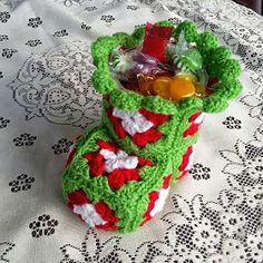 24 Foot Street: Crochet Christmas Bootie Candy Dish