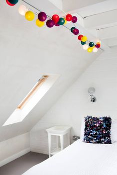 Cable and Cotton, British Design Fairy Lights & Cotton Ball Lights – Build your own set using our unique pick and mix selector, choose your own colours, assembled in the U. Cable And Cotton Lights, Cotton Ball Lights, Loft Room, Uni Room, Bedroom Loft, Kids Bedroom, Handmade Lamps, Home Decor Bedroom, Bedroom Ideas