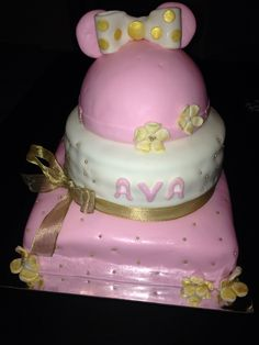 Pink white and gold  Minnie cake