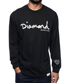 Get your shine on in the OG Script black long sleeve t-shirt from Diamond Supply Co. The black colorway features a white screen printed text logo on the chest, a diamond logo on the left sleeve cuff, and a large diamond logo on the back. Grab this long sl