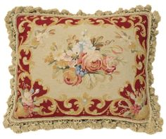 """18"""" Hand Stitched Needlepoint Petit Point Pillow Lovely Roses"""